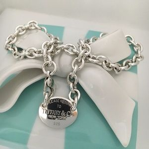 """20"""" Return To Tiffany Silver Oval Tag Necklace"""